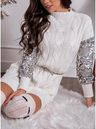 Flitterek/Egyszínű Hosszú ujjú Zsák Térd feletti Hétköznapokra Sweter φορέματα