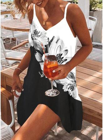 Impresión/Floral/Bloque de color Sin mangas Tendencia Sobre la Rodilla Casual/Vacaciones Camisón Vestidos