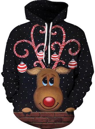 Unisex Baumwollmischungen Rentier Weihnachts-Sweatshirt