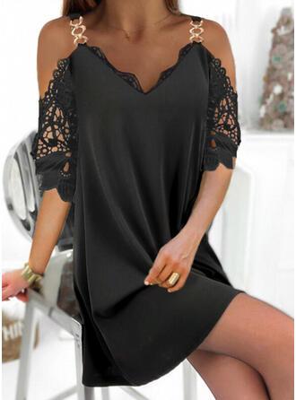 固体 1/2袖 シフトドレス 膝上 リトルブラックドレス/エレガント ドレス