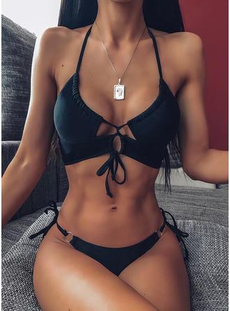 Couleur Unie Cordon de serrage Dos Nu Sexy Jolis Classique Bikinis Maillots De Bain