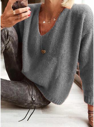 Sólido Decote em V Casual Suéteres