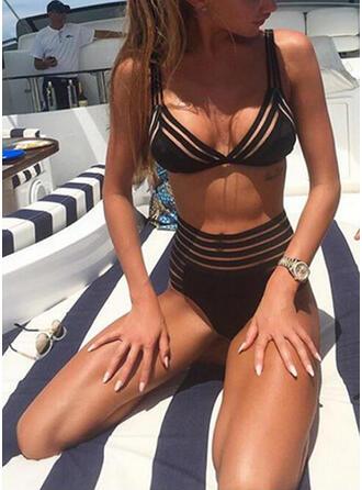 Jednolity kolor W prążki Dekolt w kształcie litery V Seksowny Bikini Stroje kąpielowe