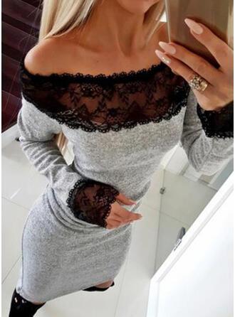 Encaje/Sólido Manga Larga Ajustado Sobre la Rodilla Pequeños Negros/Casual/Elegante Vestidos