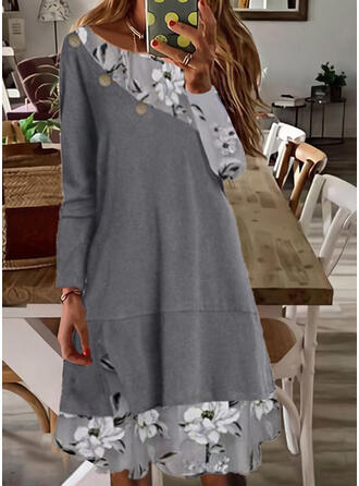 Print/Floral Lace Long Sleeves Shift Knee Length Casual Tunic Dresses