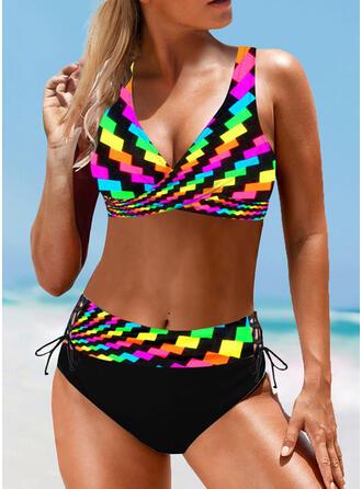 Høy Midje Splice farge Stropp V-hals vintage stil Pluss størrelse Bikinier Badedrakter