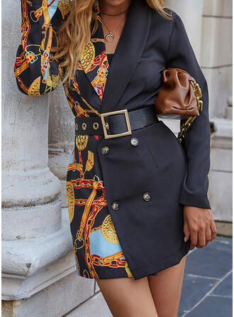 印刷 長袖 カジュアル ドレス