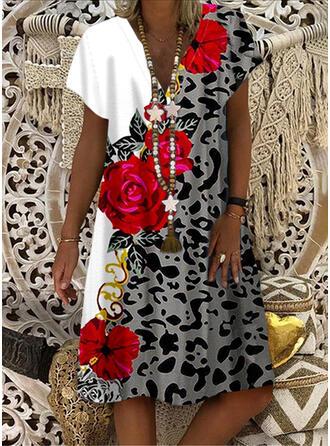 Impresión/Floral/Leopardo Manga Corta Tendencia Hasta la Rodilla Casual Vestidos