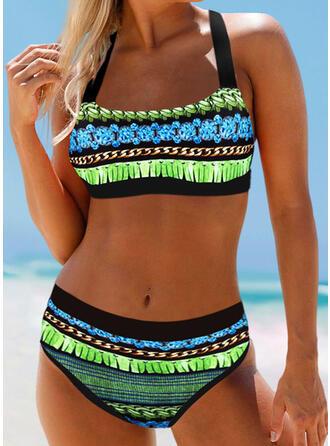 Impresión Trozos de color Correa Elegante Bohemio Bikinis Trajes de baño