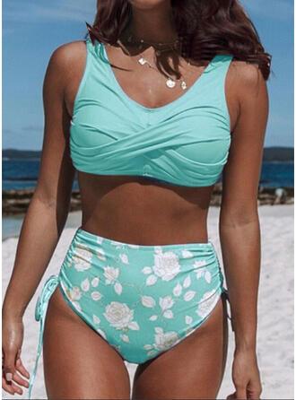 Cintura Alta Impresión Empujar Correa Cuello redondo Sexy Fresco Bikinis Trajes de baño