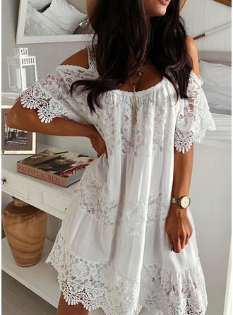 Lace/Solid Short Sleeves Shift Above Knee Little Black/Elegant Dresses