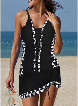 Splice färg tofsar Rem U-ringning Elegant Tankinis Badkläder