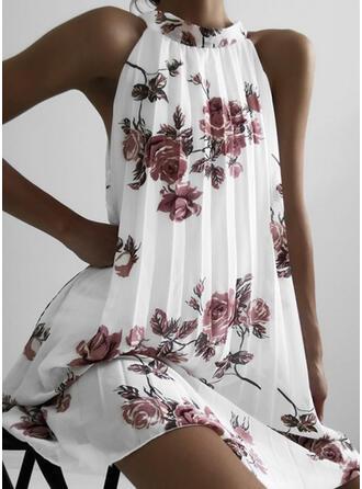 Impresión/Floral Sin mangas Tendencia Hasta la Rodilla Casual Vestidos