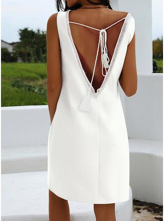 固体 ノースリーブ シフトドレス 膝丈 リトルブラックドレス/カジュアル/エレガント ドレス