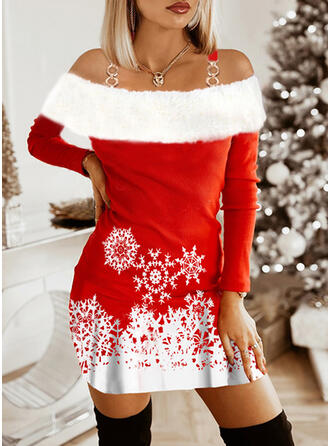 Christmas Print/Color Block Long Sleeves Raglan Sleeve Sheath Above Knee Party Dresses