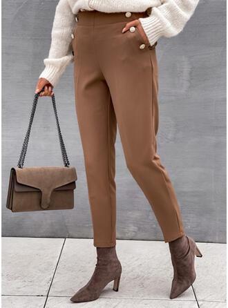Pevný Dlouho Elegantní Plus velikost Kancelář / Obchod hlubokým výstřihem Knoflík Kalhoty