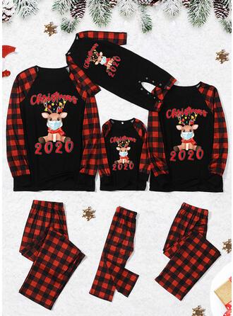 Ren Pläd Brev Print Matchande familj Jul Pyjamas