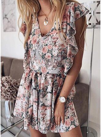 Impresión/Floral Sin mangas Acampanado Sobre la Rodilla Casual Vestidos