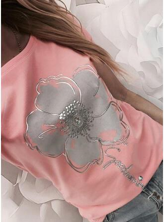 Figur Blommig Print Rund-ringning Korta ärmar T-tröjor