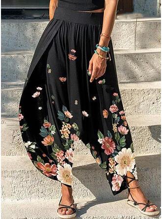 Floral Impresión Largo Tallas Grande shirred Pantalones de salón