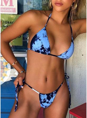 Impresión Cordón Pierna alta Sin Mangas Sexy De Moda Bikinis Trajes de baño