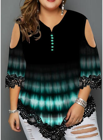 Tie Dye Rundhalsausschnitt 3/4 Ärmel Lässige Kleidung Große Größen Blusen