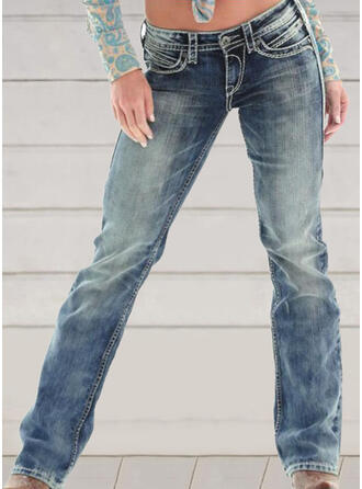 Embroidery Shirred Plus Size Elegant Skinny Denim & Jeans