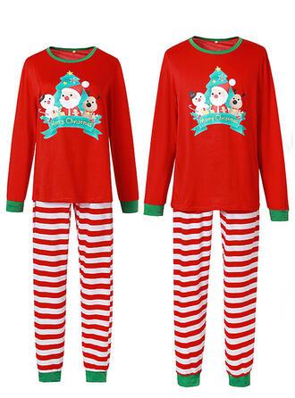 Père Noël Striped Dessin Animé Tenue Familiale Assortie Pyjama De Noël