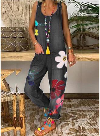 Blommig Print Rund-ringning Ärmlös Fritids Jeans Jumpsuit