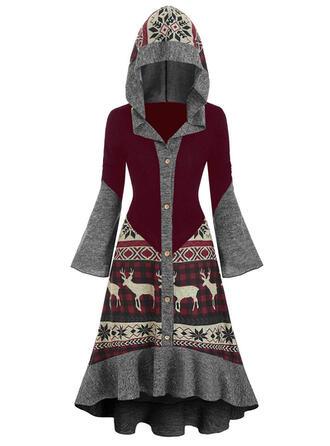 Kockás/Állatminta Hosszú ujjú/Harang ujjú Zsák Térdig érő Karácsony/Hétköznapokra φορέματα