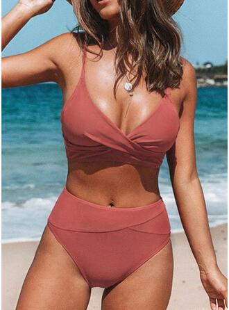 Color Sólido Cintura Alta Correa Cuello en V Sexy Antiguo Fresco Bikinis Trajes de baño