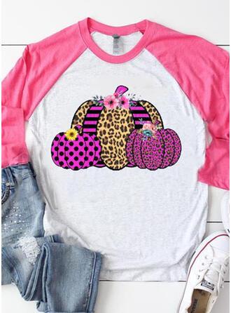 Tisk Leopard Kulatý Výstřih Dlouhé rukávy Halloween Trička