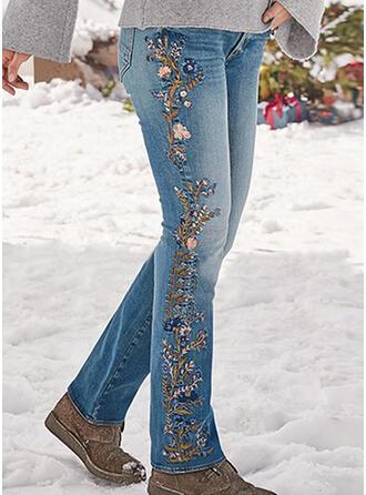 Broderi Shirred Extra stor storlek Elegant Sexig Denim & Jeans