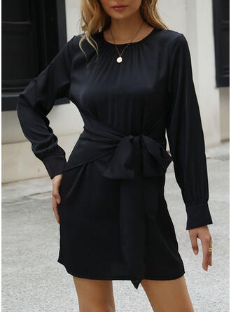 固体 長袖 シースドレス 膝上 カジュアル ドレス