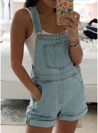 Solid Strap Sleeveless Casual Denim Romper