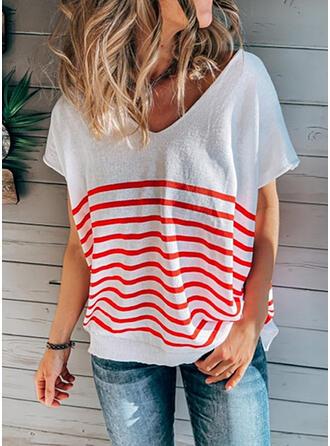Rand V-ringning Korta ärmar T-tröjor