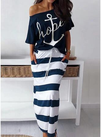 Impresión/Rayado Mangas 3/4 Cubierta Casual Midi Vestidos