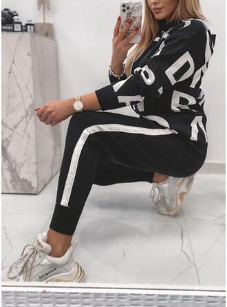 Brev Rand Print Color Block Sportig Fritids Extra stor storlek sweatshirts & Tvådelade kläder uppsättning