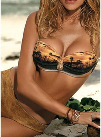 Cintura Baja Impresión Correa Sexy De Moda Bikinis Trajes de baño