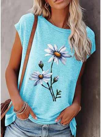 Kwiatowy Nadruk Okrągły dekolt Krótkie rękawy T-shirty
