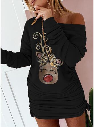 印刷/ヒョウ/動物 長袖 ドロップショルダー ボディコンドレス 膝上 パーティー スウェットシャツ ドレス