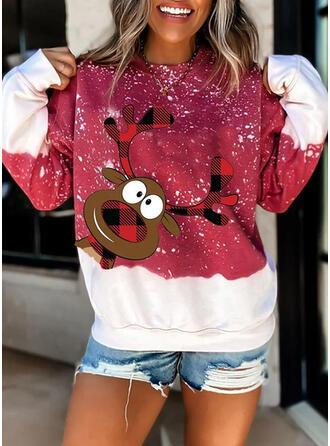 Animal Print Rács Kerek nyak Hosszú ujjú Karácsonyi pulóver