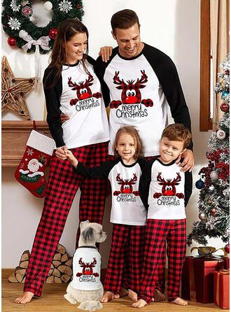 トナカイ カラーブロック グリッド 文字 印刷 マッチングファミリー クリスマスパジャマ