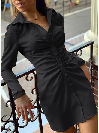 Solid Long Sleeves Sheath Above Knee Little Black/Elegant Shirt Dresses