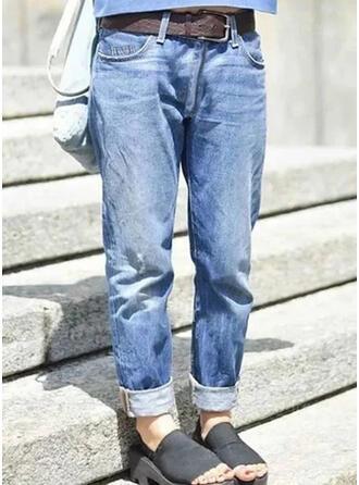 Solid Denim Long Casual Plus Size Pocket Denim & Jeans