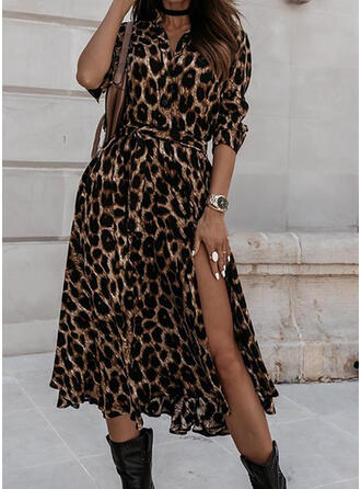 Leopard 3/4 Sleeves A-line Casual Midi Dresses