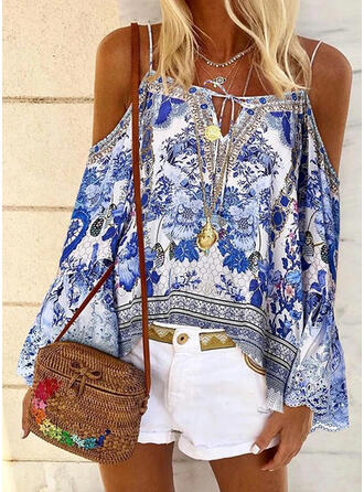 Print Floral Cold Shoulder Flare Sleeve Long Sleeves Casual Blouses