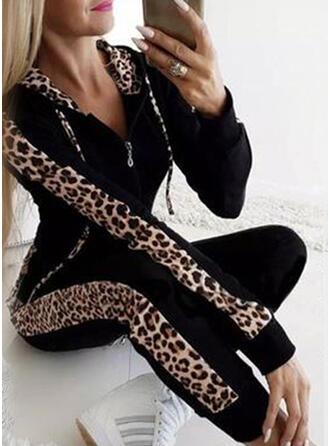lappverk Extra stor storlek Leopard Fritids Sexig Sportig Kostymer