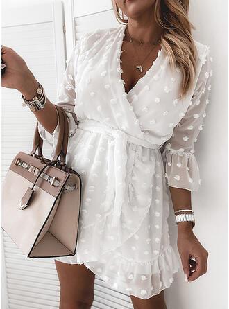 Sólido Mangas 3/4 Cubierta Sobre la Rodilla Casual/Elegante Vestidos