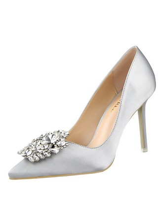 De mujer Satén Tacón stilettos Salón con Rhinestone zapatos